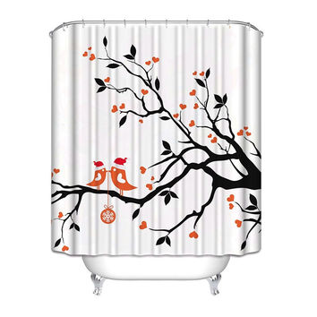 Love Birds in a Tree Black White Red Polyester Fabric Shower Curtain