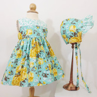 12 month baby girl floral dress baby bonnet blue and yellow infant dress first birthday special occasion sunday best baby sun bonnet
