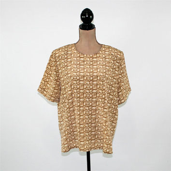 90s Short Sleeve Blouse Oversized Top Women Large Beige Print Boxy Shirt Women Novelty Basket Weave Vintage Clothing Womens Clothing