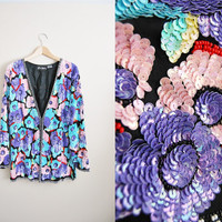 Hello Daisy - Vintage 80s Trophy SEQUIN Beaded Floral Ovesized Jacket Top