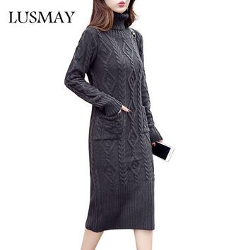 Casual Slim Midi Dress Women Winter 2017 New Arrival Knitted Sweater Dress Long Sleeve Turtleneck Twist Fashion Women Dresses