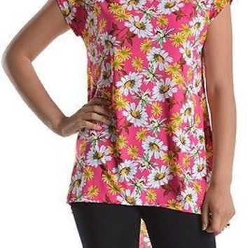 Floral Print Round Neck Hi-Low Hem Short Sleeve Long Tunic Top