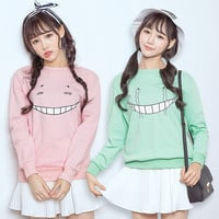Cute cartoon face smile moe vampire loose o-neck long-sleeve sweatshirt female korea harujuku Assassination Classroom pullover