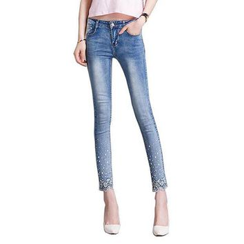 DCCKU62 2017 New spring autumn Women lace Rhinestone Jeans denim Pencil Pants stretchy denim nine pants T857