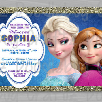 PRINTED - Disney Frozen Birthday Party Invitations! Custom Personalized Elsa & Anna Invitations!Choose your size - 5x7 or 4x6