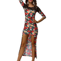 Floral Print Half Sleeve Asymmetrical hem Maxi Dress