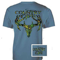Country Life Outfitters Blue Camo Realtree Deer Skull Head Hunt Vintage Unisex Bright T Shirt