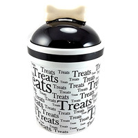 Pet Treat Jar Dog Cat Treats Bone Cookies Black White VO Toys Air Tight m223