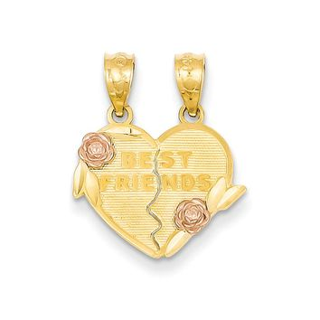 14k Two Tone Gold Best Friends Heart and Roses Set of 2 Pendants, 16mm