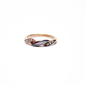 Vintage Kabana 14k Rose Gold Ring with Inlaid Black Mother of Pearl and Diamonds, Rose Gold Wedding Band, Rose Gold Engagement Ring, Size 4