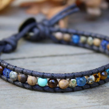 Single Wrap Bracelet, Beaded Wrap Bracelet, Blue Brown, Beaded Wrap Bracelet, Vegan Wrap Bracelet, Cruelty Free Jewelry, Stone Bracelet,
