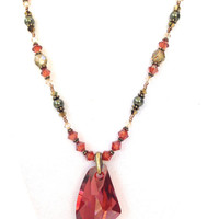 Red Crystal Pendant Necklace: Swarovski Crystals, Elegant Statement Necklace, Colorful Beaded Jewelry, Handmade, Wedding Jewelry, Her Gift