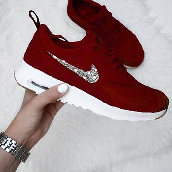 NIKE Air Max Thea Popular Women Men Casual Shiny Diamond Sequin Running Sport Shoes Sneakers Red+Silvery Hook