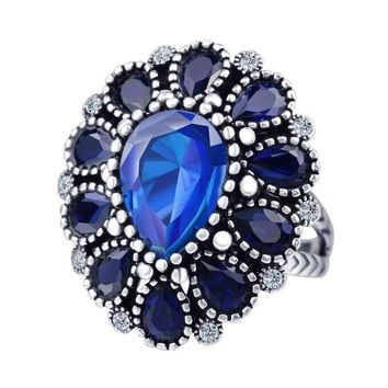 ON SALE - Brilliant Blue Flower Oversize Cocktail Ring