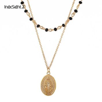 Ingesight.Z Vintage 2 Layers Statement Crystal Beads Chain Goddess Pendant Choker Necklace Virgin Mary Christian Collar Collier