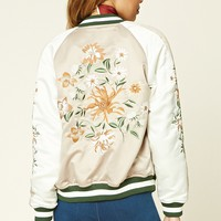 Floral-Embroidered Satin Jacket