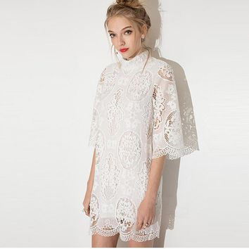 Fashion Simple Female Solid Color Exquisite Hollow Hook Flowers Lace Turtleneck Middle Sleeve Mini Dress