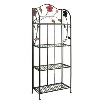 Indoor Outdoor Metal Bakers Rack Plant Stand with Floral Accents