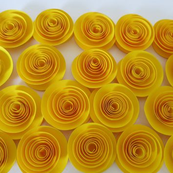 "Bright Yellow Roses Paper Flowers Loose Table Decorations Wedding Lot 25 Bridal Shower Decor Mini Flower Bouquet Home Decor Baby 1.5"" Buds"