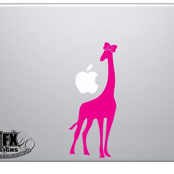 Giraffe with Bow Decal - Giraffe Stickers - Animal Decals