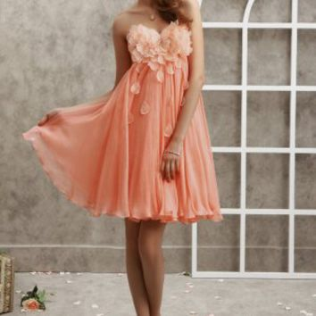 Empire Sweetheart Flower Petal Chiffon Short/Mini Dress at Dresseshop