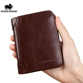 Famous Retro Vintage Genuine Leather Wallet Male RAID Men Wallets Card Holder Zipper Small Wallet