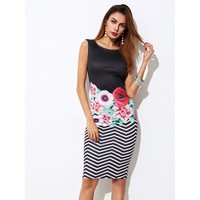 Multicolor Mixed Print Form Fitting Dress