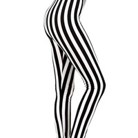Beetlejuice Black & White Stripe Punk Leggings