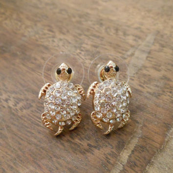 Gold Rhinestone Turtle Earrings Sea Stud
