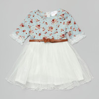 Blue & White Floral Chiffon Belted Dress - Toddler & Girls | Daily deals for moms, babies and kids