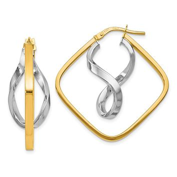 14k Two Tone Gold Fancy Square Hoop Earrings