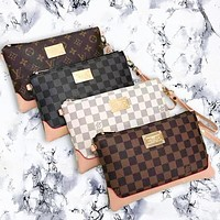 LV Louis Vuitton Stylish Women Men Office Bag Leather Handbag Wrist Bag Purse Wallet