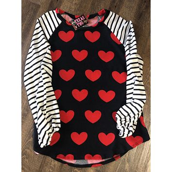 Hearts and Stripes Plus Size Top (1XL-3XL)
