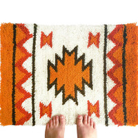 Vintage Hand Hooked Rug / Latch Hook Tapestry / Retro Handmade Native American Fiber Art / Wall Art / Home Decor / Aztec Tribal Pattern