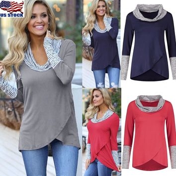 Fashion Women Tunic Tops Long Sleeve Striped Cowl Neck T-Shirt Loose Tops Blouse