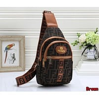 FENDI Newest Women Men Leather Backpack Bookbag Daypack Satchel Brown