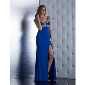Jasz Couture 5446 Royal Blue Empire Waist Cap Sleeve Gown 2015 Prom Dresses