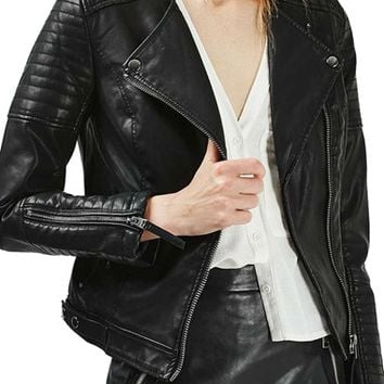 Topshop Nelly Faux Leather Biker Jacket | Nordstrom