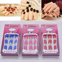 24PC Fashion Matte False Full Finger Nails Manicure Nails Fake Nails  NEW CCC