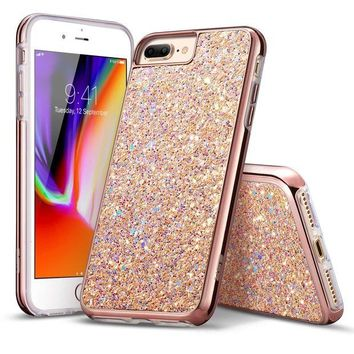 DCK4S2 iPhone 8 Plus Case, iPhone 7 Plus Case, ESR Glitter Bling Hard Cover with Dual Layer Structure [Hard PC Back Outer + Soft TPU Inner] for Apple 5.5' iPhone 8 Plus/ iPhone 7 Plus(Metallic Peach)
