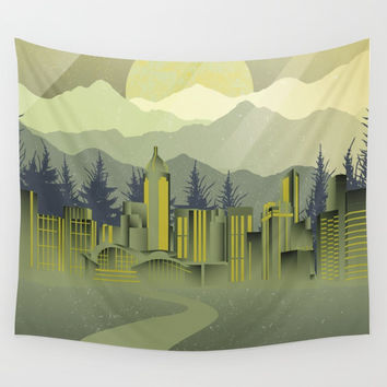Skyscrapers Wall Tapestry by Berwies