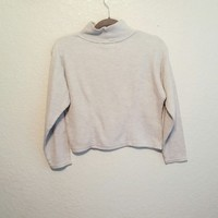 Vintage light grey ribbed turtle neck sweater Size small In ...