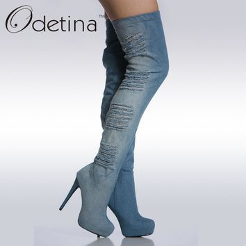 Odetina Brand Fashion Women Blue Summer Jeans Boots Platform Thigh High Denim Boots High Heel Over The Knee Boots stiletto Heel