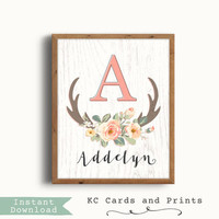 Boho Nursery Decor, Addelyn, Wall Art, Rustic Nursery, Art Prints, Baby Name,  Antlers, Printable, Personalized Baby Gift, Instant Download