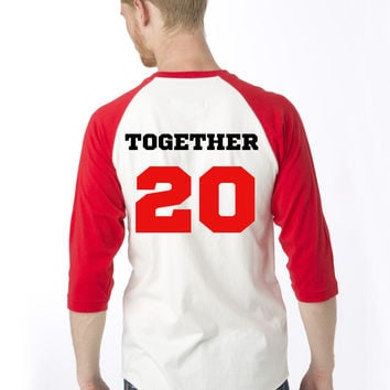Two Red Baseball Tees - Together Since Cute Matching Couple Shirts