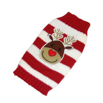 Cute Red Pet Dogs Sweater Christmas Elk Knit Coats Apparel Costume Stripe Sweater