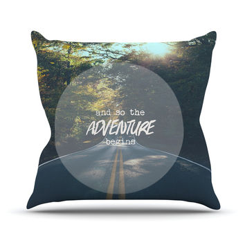 "Ann Barnes ""The Adventure Begins"" Typography Nature Throw Pillow"
