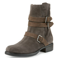 Alberto Fermani Triumverate Short Suede Moto Boot, Anthracite