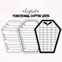 Functional To Do List Coffin Boxes, Printable Hobonichi Weeks Check Boxes, Goth Planner Printables