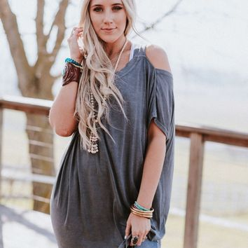 Arwen Asymmetrical Tunic Top - Gray